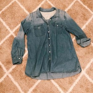 Medium wash button down denim chambray top